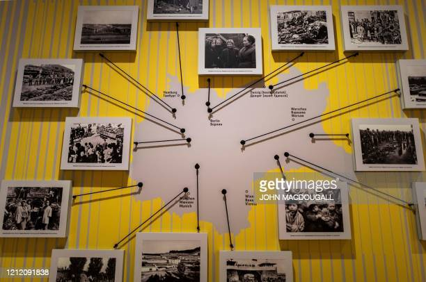 An exhibit shows a map of Germany detailing every major concentration camp at a temporary exhibition titled From Casablanca to Karlshorst which...