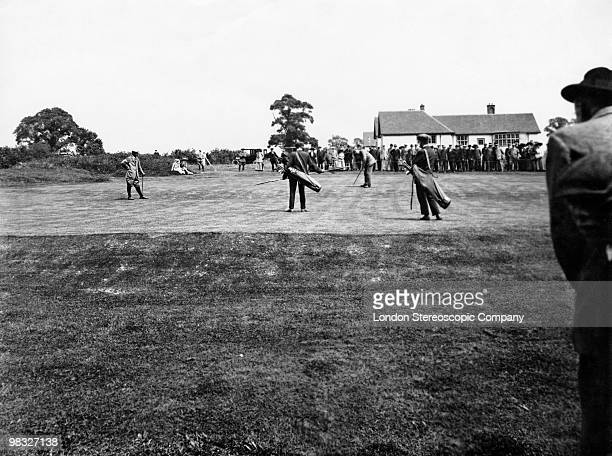 An exhibition match between golfing legends Harry Vardon and James Braid to mark the opening of Sandy Lodge Golf Club in Northwood UK 16th July 1910...