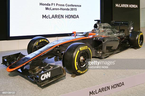 An exhibition model of the MP430 is displayed at a Honda F1 press conference at the company's headquarters in Tokyo on February 10 2015 Honda Motor...