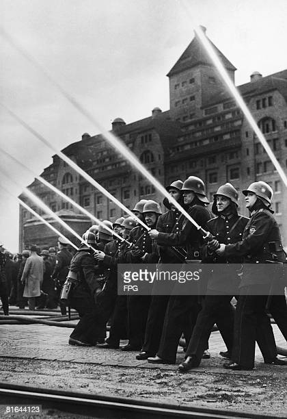 An exhibition of firefighting by Berlin's firemen 3rd April 1937