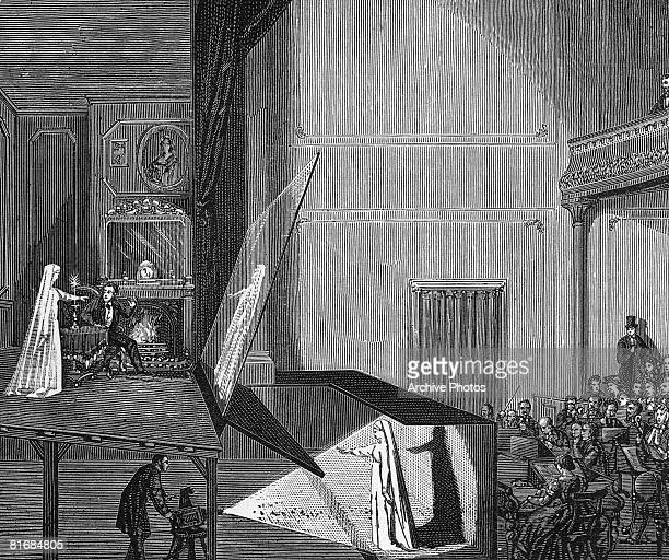 An exhibition of 'Pepper's Ghost' in the theatre circa 1865 This optical effect using mirrors was invented by Henry Dircks and further developed by...