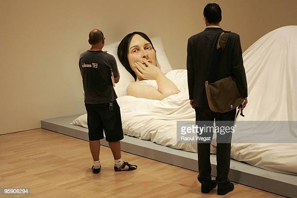 An exhibition piece entitled 'In Bed' is seen ahead of the opening of the new Ron Mueck exhibition at the National Gallery of Victoria on January 21...