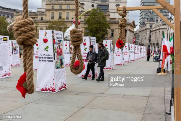 """An exhibition """"Stop Execution in Iran' calling Iranian government to end death penalty in Iran on Trafalgar Square on October 10, 2020 in..."""