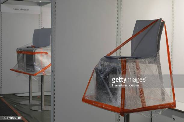 An exhibiton stand waits for his tenant prior to the opening of the Frankfurt Book Fair on October 9, 2018 in Frankfurt, Germany. Approximately 7,100...