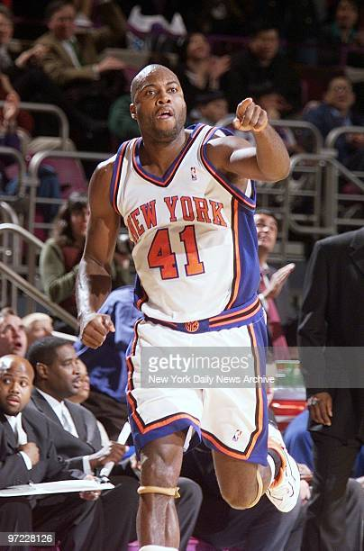 An exhuberant Glen Rice after scoring in the fourth quarter against the Washington Wizards at Madison Square Garden Rice ended up with 18 points as...