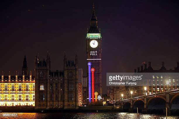 An exit poll conducted by the BBC is projected on to Big Ben at the moment voting finishes on May 6, 2010 in London, England. After five weeks of...