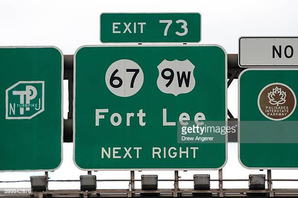 An exit sign for Fort Lee New Jersey is viewed along I95 near the George Washington Bridge September 7 2016 in Fort Lee New Jersey Jury selection...