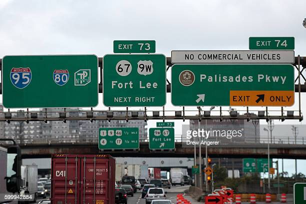An exit sign for Fort Lee New Jersey is viewed as cars travel across the George Washington Bridge into New Jersey September 7 2016 in Fort Lee New...