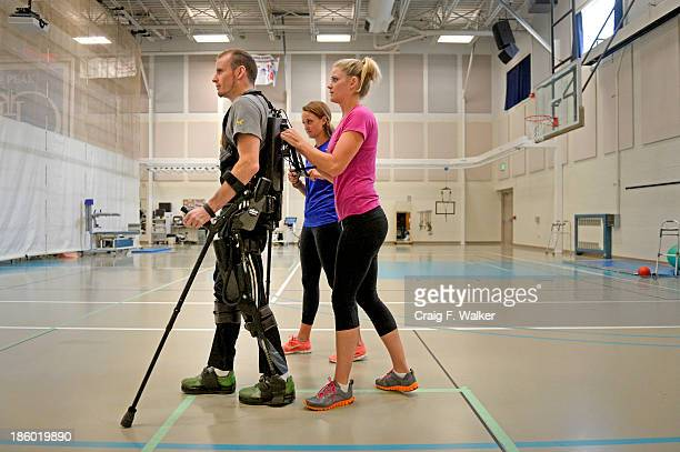 An exoskeleton senses a patient's intentions by leaning then helps complete the step James Nall stood for more than 40 minutes and took 819 steps at...