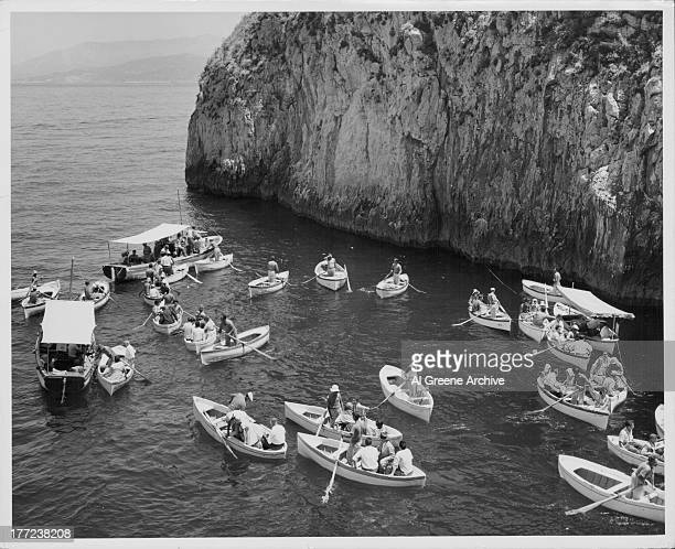 An expedition to the Blue Grotto a sea cave on the coast of the island of Capri southern Italy circa 19201960