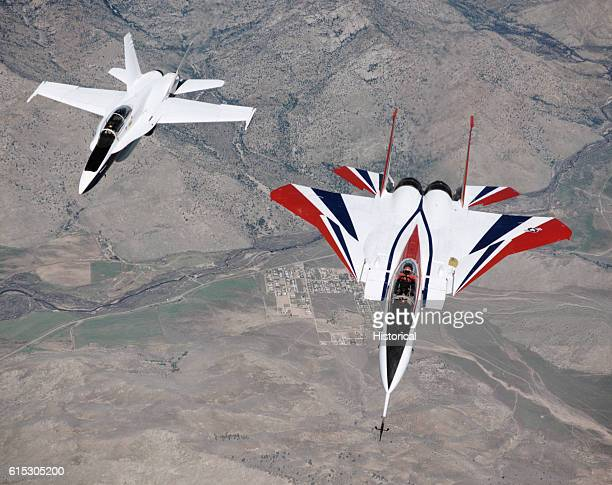 An experimental NASA F15 Eagle in flight The F15 ACTIVE has been modified with two engines that can turn up to 20 degrees in all directions allowing...