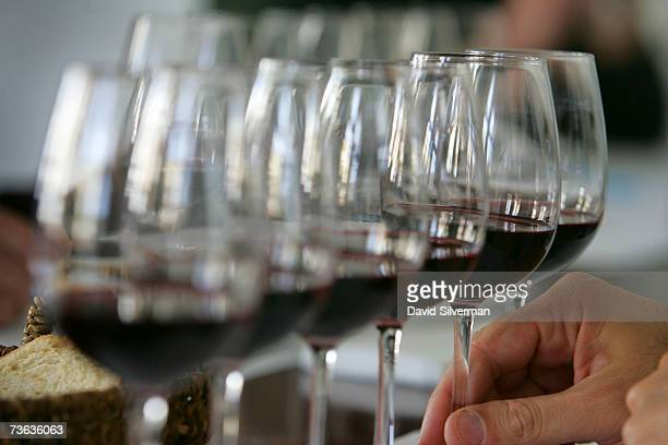 An expert reaches for a glass of Cabernet Sauvignon during a tasting session as more than 250 wines from some 60 Israeli wineries compete for coveted...