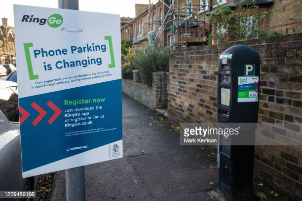 An explanatory notice is displayed alongside a parking meter to be used in conjunction with the RingGo parking application on 31 October 2020 in...