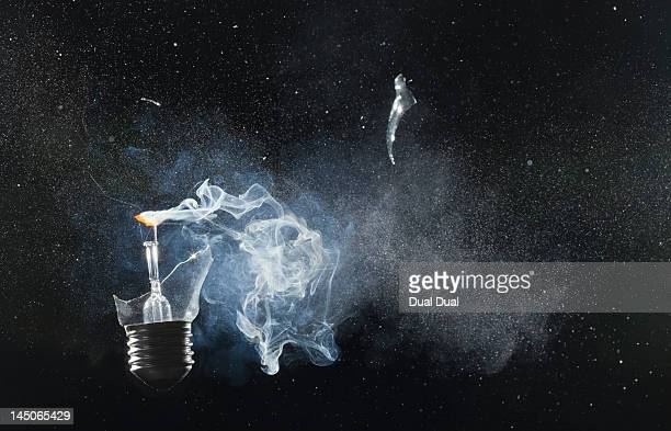 An exploded light bulb