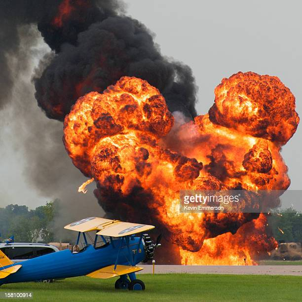 An explosion at an airfield.