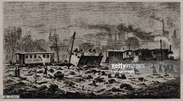 An explosion that destroyed the Tsar's Alexander II freight car November 1979 1880 Found in the Collection of Russian State Library Moscow