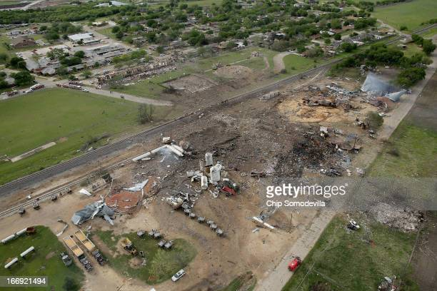 An explosion yesterday leveled the West Fertilizer Company shown from the air on April 18 2013 in West Texas According to West Mayor Tommy Muska...
