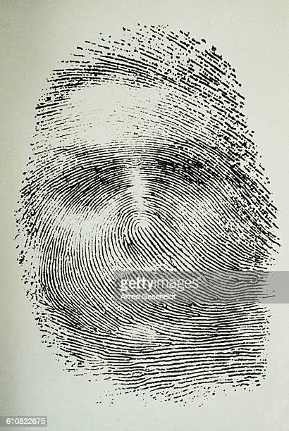 An expressionist thumbprint where the whorls form the image of a woman's face 1992