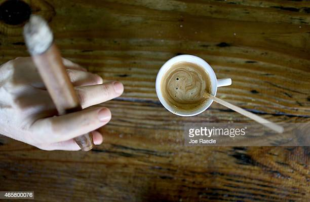 An expresso coffee sits on the counter at the Los Pinarenos Fruteria on March 10 2015 in Miami Florida A panel of governmentappointed scientists at...