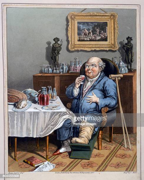 An Exquisite Taste with an Enlarged Understanding' 1827 A man suffering from gout sittting at a table laden with food and drink Artist G Hunt