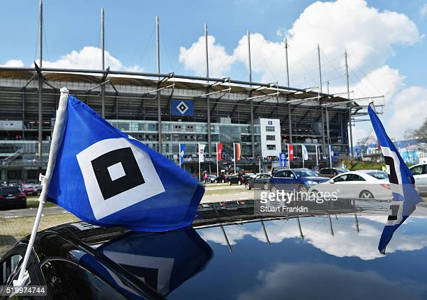 An extereior view of the Volksparkstadoin prior to the Bundesliga match between Hamburger SV and SV Darmstadt 98 at Volksparkstadion on April 9 2016...