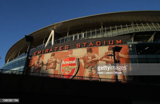 an exterior general view before the Premier League match between Arsenal FC and Wolverhampton Wanderers at Emirates Stadium on November 11 2018 in...