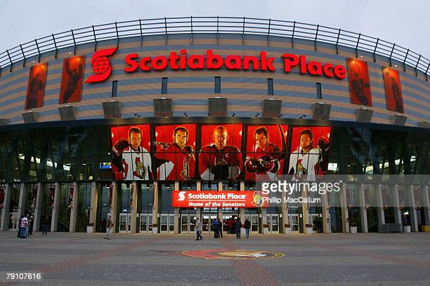 An exterior general view of Scotiabank Place during the NHL game between the Detroit Red Wings and the Ottawa Senators on January 12 2008 in Ottawa...