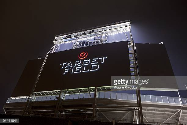 An exterior general view of Target Field's scoreboard at night on October 28 2009 at Target Field in Minneapolis Minnesota The opening day game is...