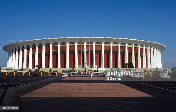 An exterior general view of the Forum from September 1974 in Inglewood California