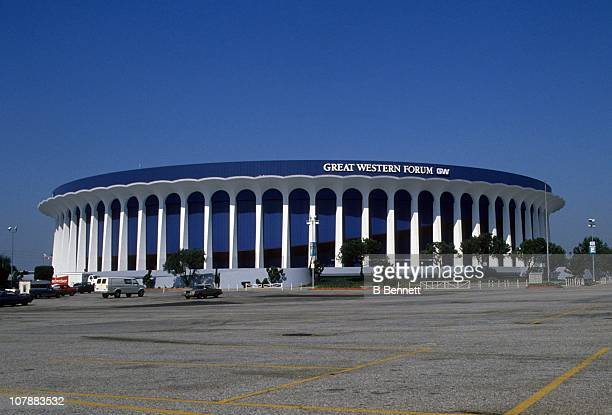 An exterior general view of the Great Western Forum from October 1989 in Inglewood California