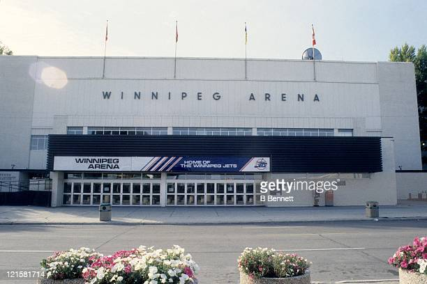 An exterior general view of the Winnipeg Arena before the Dallas Stars and Winnipeg Jets NHL game on October 7 1995 at the Winnipeg Arena in Winnipeg...