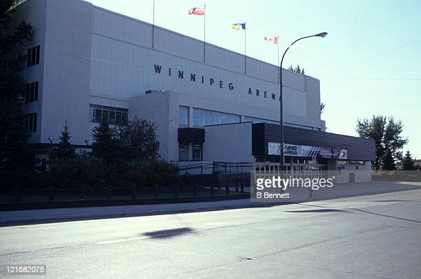 An exterior general view of the Winnipeg Arena circa 1988 at the Winnipeg Arena in Winnipeg Manitoba Canada