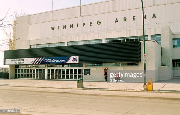 An exterior general view of the Winnipeg Arena circa 1990 at the Winnipeg Arena in Winnipeg Manitoba Canada