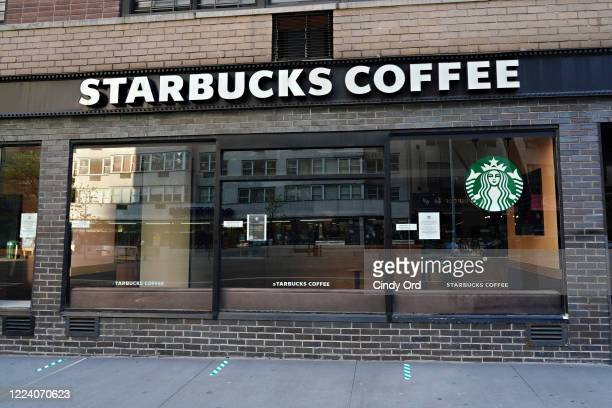 An exterior of Starbucks during the coronavirus pandemic on May 10, 2020 in New York City. COVID-19 has spread to most countries around the world,...