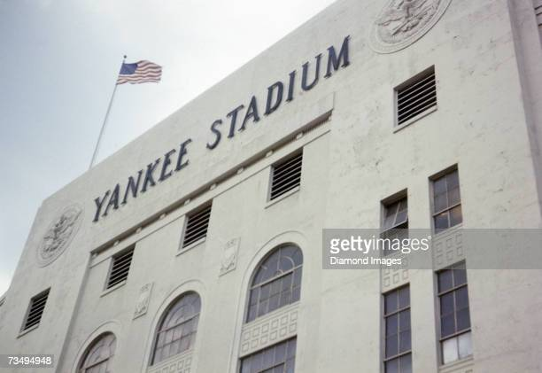 An exterior of Yankee Stadium prior to a doubleheader on August 6, 1970 between the Detroit Tigers and the New York Yankees at Yankee Stadium in New...