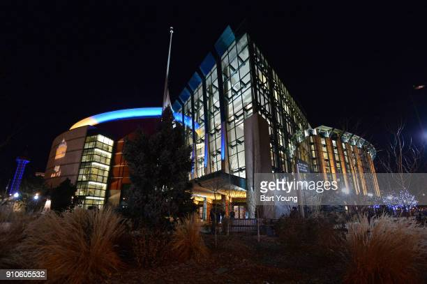 An exterior photo of the Pepsi Center before the New York Knicks game against the Denver Nuggets on January 25 2018 in Denver Colorado NOTE TO USER...