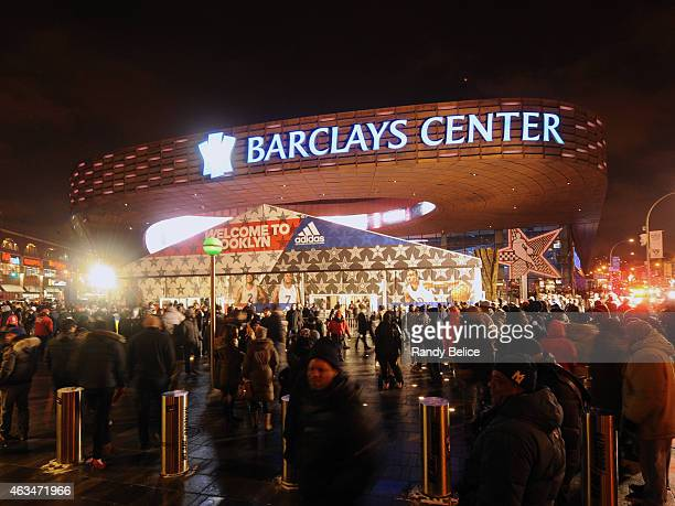 An exterior shot of Barclays Center during State Farm AllStar Saturday Night as part of the 2015 NBA AllStar Weekend on February 14 2015 at Barclays...