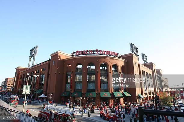 An exterior shot of Busch Stadium prior to Game Three of the 2006 World Series on October 24, 2006 in St. Louis, Missouri. The Cardinals defeated the...