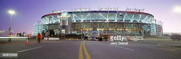 An exterior shot of FedEx Field during the game between the Washington Redskins and the Philadelphia Eagles on December 27 2003 in Washington DC