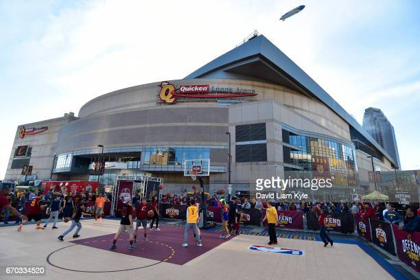 An exterior shot of Quicken Loans Arena before Game Two of the Eastern Conference Quarterfinals between the Indiana Pacers and the Cleveland...