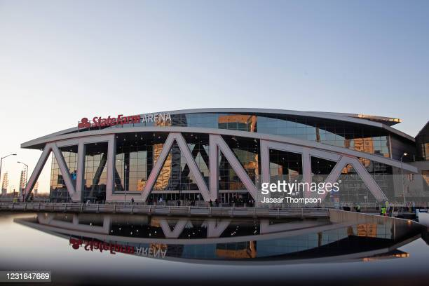 An exterior shot of State Farm Arena before the 70th NBA All Star Game as part of 2021 NBA All Star Weekend on March 7, 2021 in Atlanta, Georgia....