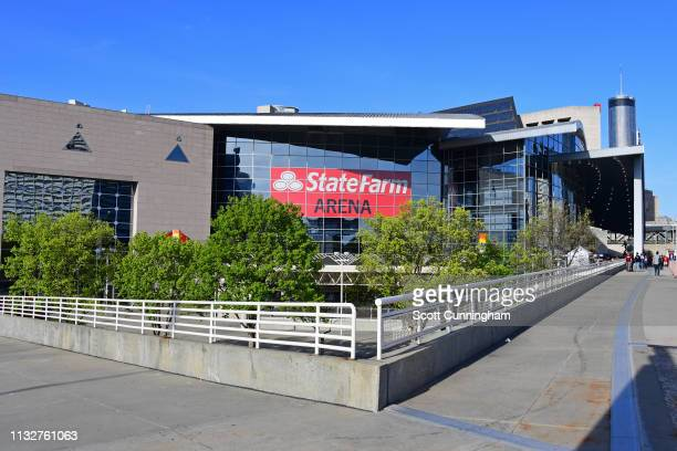 An exterior shot of State Farm Arena before the Philadelphia 76ers game against the Atlanta Hawks on March 23, 2019 in Atlanta, Georgia. NOTE TO...