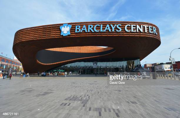 An exterior shot of the arena before Game Three of the Eastern Conference Quarterfinals bwteen the Brooklyn Nets and teh Toronto Raptors during the...