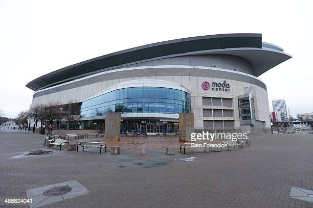 An exterior shot of the arena before the game between the Oklahoma City Thunder and the Portland Trail Blazers on February 11 2014 at the Moda Center...