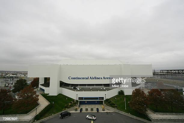 An exterior shot of the Continental Airlines Arena prior to the start of the NHL game between the New Jersey Devils and the Carolina Hurricanes on...