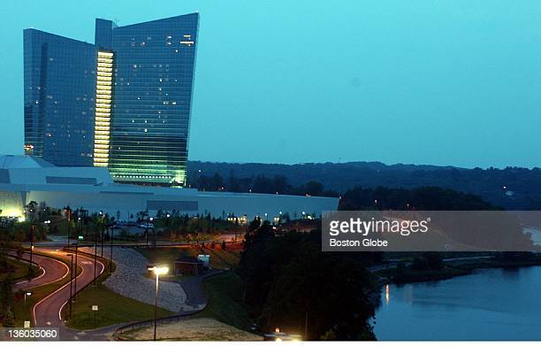 An exterior shot of the Mohegan Sun Hotel and Casino which sits next to the Thames River