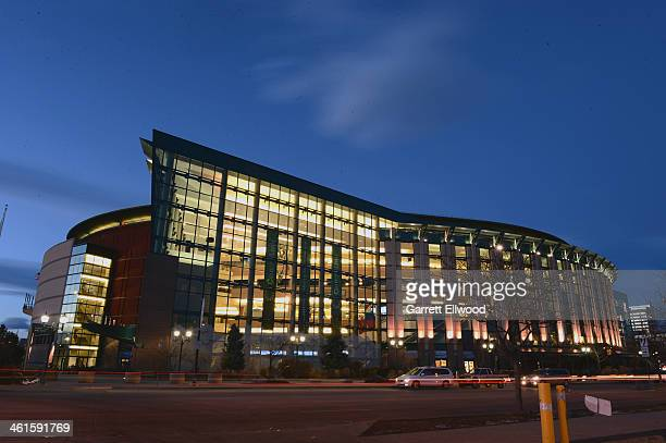 An exterior shot of the Pepsi Center before the game between the Oklahoma City Thunder and the Denver Nuggets on January 9 2014 at the Pepsi Center...
