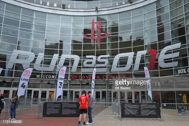 An exterior shot of Toyota Center before the Phoenix Suns game against the Houston Rockets on March 15 2019 in Houston Texas NOTE TO USER User...