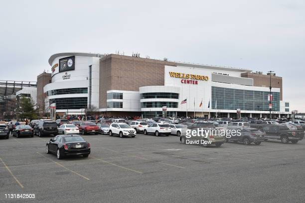 An exterior shot of Wells Fargo Center before the Boston Celtics game against the Philadelphia 76ers on March 20, 2019 in Philadelphia, Pennsylvania...