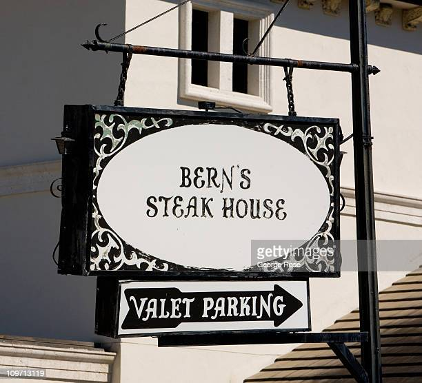 An exterior sign at the renowned Bern's Steak House is viewed on February 14 2011 in Tampa Florida Hit hard by the recent economic downturn Tampa is...